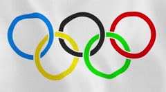 Loopable: Olympic Rings Flag Waving in Wind Stock Footage