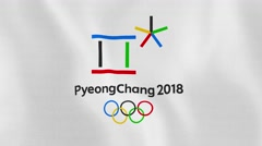 Loopable: Pyeongchang 2018 Winter Olympic Games Flag Waving in Wind Stock Footage