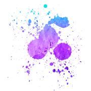 Watercolor splashes on the white. - stock photo