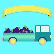 Truck with grape harvest - stock illustration