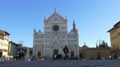 TL 4K Italy Tuscany Toscana Florence square Piazza Santa Croce Basilica of Santa - stock footage