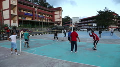 Guys playing in game Sepak Takraw, Cameron Highlands, Malaysia - stock footage