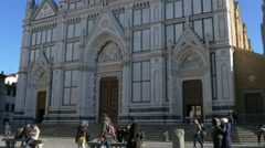 4K Italy Tuscany Toscana Florence square Piazza Santa Croce Basilica of Santa - stock footage