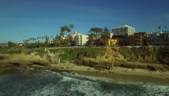 La Jolla Aerial Over Beach Town - stock footage