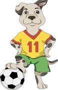 Puppy footballer Stock Illustration