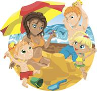 Family on the beach Stock Illustration