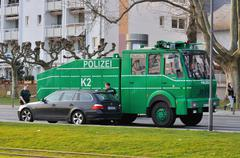 FRANKFURT, GERMANY - MARCH 18, 2015: Armored police car, Demonstration Blocku - stock photo