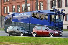 FRANKFURT, GERMANY - MARCH 18, 2015: Armored police car, Demonstration Blocku Stock Photos
