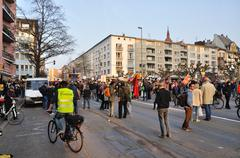 FRANKFURT, GERMANY - MARCH 18, 2015: Crowds of protesters, Demonstration Bloc - stock photo