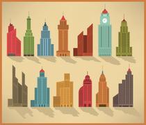 Skyscraper icons - stock illustration