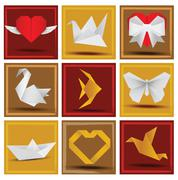 Origami animals & love symbols - stock illustration
