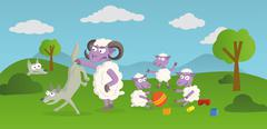 Stock Illustration of Funny Story of playing Sheep and hunting Wolves in the Nature