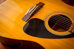 Acoustic Guitar Sound Hole and Strings - stock photo