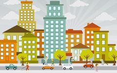 Flat city life - stock illustration