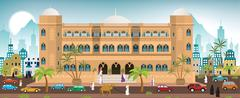 Hotel in the city (Arabia) Stock Illustration