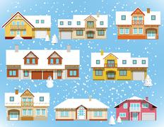 Snow covered city houses (Christmas) Stock Illustration