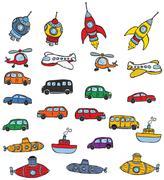 Vehicles symbols Stock Illustration