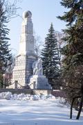 Lenin statue in the Snow - stock photo