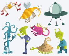 Funny Creatures from another Planets 2 Stock Illustration