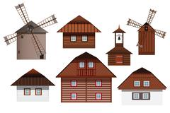 Museum - old buildings (houses, mills, chapel) - stock illustration
