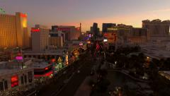 Stock Video Footage of Las Vegas Aerial Cityscape Strip Dusk