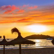 Majorca sunset in sant Elm near sa Dragonera Stock Photos