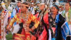 Pow wow fancy shawl dancers Stock Footage