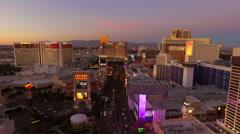 Las Vegas Aerial Cityscape Strip Dusk Stock Footage
