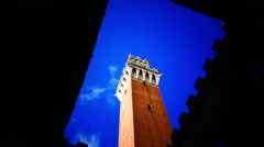 4K Italy Tuscany Toscana Siena old town square Piazza del Campo Tower Torre del Stock Footage