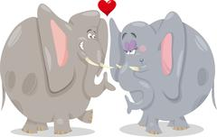 elephants in love cartoon illustration - stock illustration