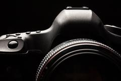 Professional modern DSLR camera low key image - Modern DSLR came Stock Photos