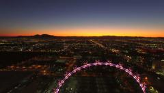 Stock Video Footage of Las Vegas Aerial Cityscape Strip Dawn