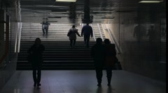 Silhouettes of hurrying people in subway-timelapse - stock footage