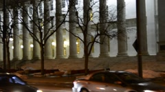 Courthouse columns at night - stock footage