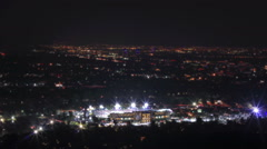 Tilt shift above the finish of the 2015 Rose Bowl game in Pasadena, CA Stock Footage