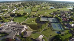 Aerial of Golf Course at Country Club Stock Footage