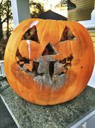 Close up of molding jack-o-lantern pumpkin face Stock Photos