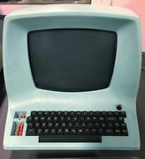 Close up of retro computer screen and keyboard Stock Photos