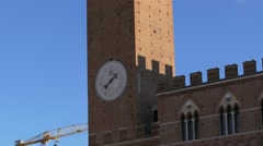 4K Italy Tuscany Toscana Siena Piazza del Campo Torre del Mangia Stock Footage