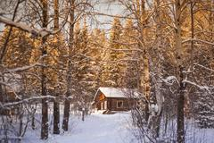 Log cabin in snowy forest Stock Photos