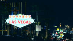 Famous Las Vegas Strip Entrance Sign at Night. Las Vegas, Nevada, United States. Stock Footage