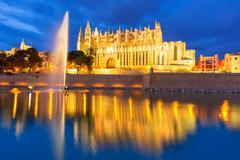 Palma de Mallorca Cathedral Seu sunset Majorca - stock photo