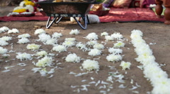 flower path in front of indian bridal altar - stock footage