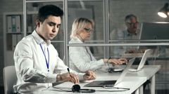 Video Conference Preparations Stock Footage