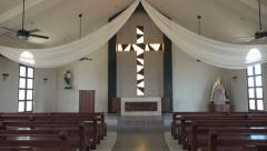 Stock Video Footage of Simple Carribean Beach Church - Tilt Up