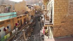 Small street in Jaisalmer City Stock Footage