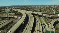 Los Angeles Aerial Freeway Interchange - stock footage