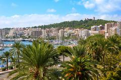 Palma de Majorca skyline with Bellver castle Stock Photos