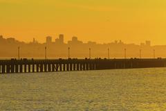 Silhouette of San Francisco city skyline over highway on bay Kuvituskuvat
