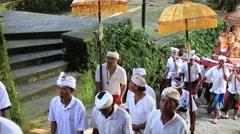Indonesian men and women celebrate Balinese New Year. Ubud, Bali, Indonesia Stock Footage